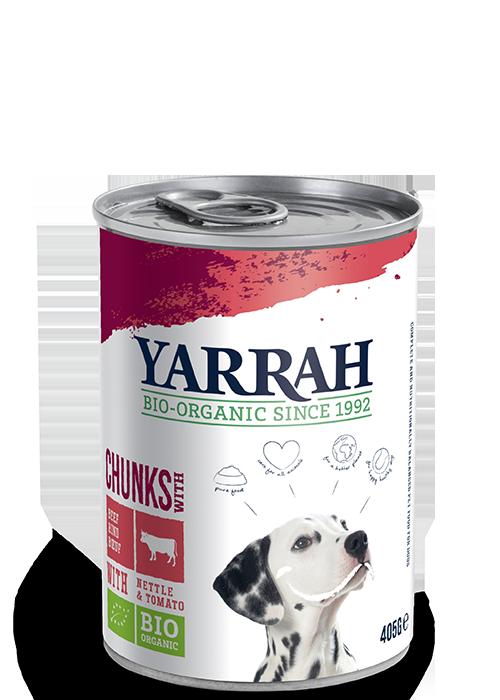 Nassfutter Hund Yarrah Bio Rind mit Brennnessel und Tomate