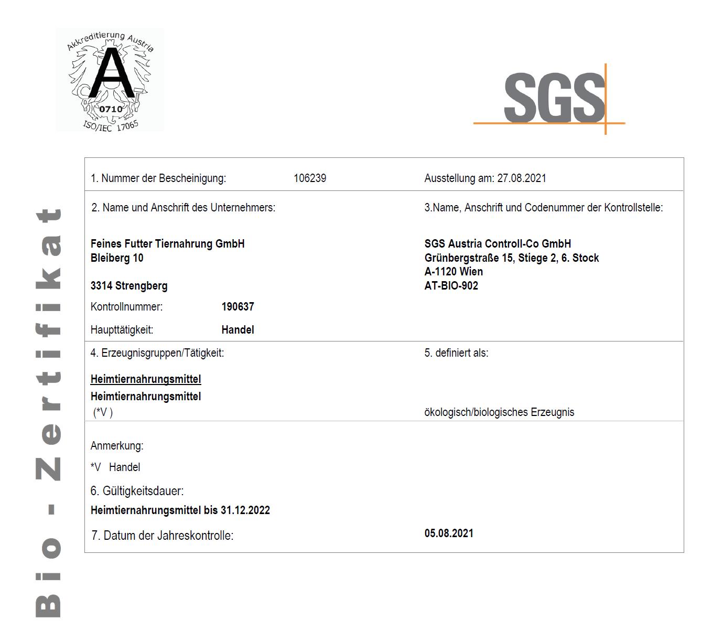 Feines Futter Tiernahrung GmbH Bio-Zertifikat
